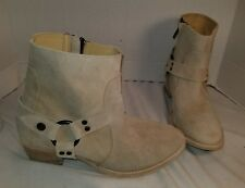 NEW ANTHROPOLOGIE FARYLROBIN ZINC NATURAL SUEDE HARNESS ANKLE BOOTS US 8