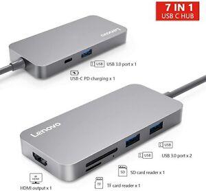 Lenovo C107 USB C Hub, Type C Adapter with USB C Charging Port, 7 in 1 BRAND NEW