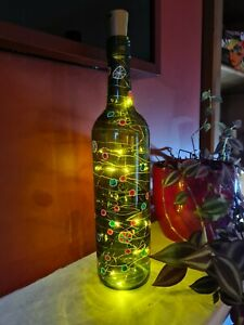 Hand Painted Wine Bottle with Christmas decoration