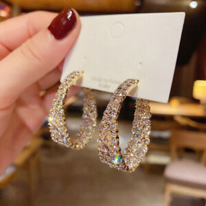 925 Silver Gold Full Crystal Circle Earrings Hoop Drop Women Charm Jewelry Gifts