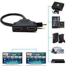 Hot HDMI Male To Dual HDMI Female 1 to 2 Way Splitter Adapter Cable For HD TV TL
