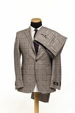 BELVEST Hand Made in Italy Wool Linen Suit Checks Gray 44 US / 54 EU 7R