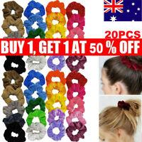60 Pack Hair Scrunchies Velvet Scrunchy Bobbles Elastic Lady Hair Band Holder AU
