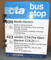 Vtg 2 Sided CTA Bus Stop 90N North Harlem/423 Chicago Aluminum Sign 24 x 18 S596