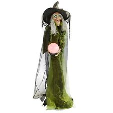 LIFESIZE ANIMATED GYPSY WITCH HOLDING LIGHTED CRYSTAL BALL HALLOWEEN PROP