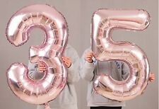 """35th Birthday Party 40"""" Foil Balloon HeliumAir Decoration Age 35 Rose Gold lite"""