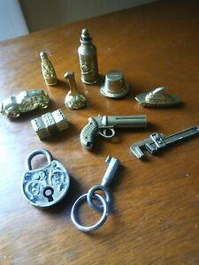Vintage Monopoly & Clue Gold Tone Metal Tokens Pieces + Old mini Padlock w/ Key