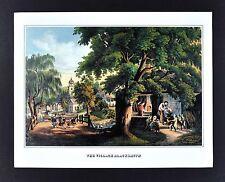 Currier & Ives Print - The Village Blacksmith - Longfellow Poem - Vintage