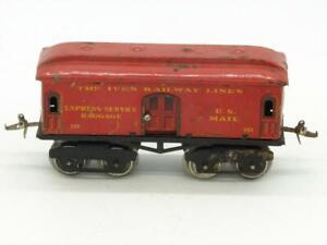 Ives Trains O Gauge Red Tin Litho 70 RPO Baggage Car Compelte