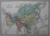 ASIA, INDIA, CHINA, JAPAN, original antique map, Malte-Brun, c.1882