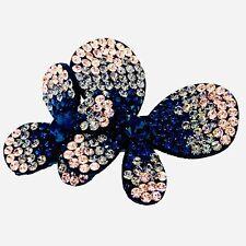 BUTTERFLY FLOWER Hair Clip Hairpin use Swarovski Crystal Elegant Nave Blue L24
