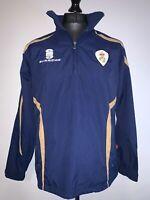 Surridge Derbyshire County Cricket Pullover Jacket & Hood Blue Gold S VGC