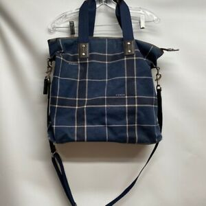 Coach Mens Blue Plaid Tote Travel Bag F70845