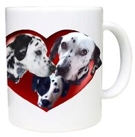 Dalmatian Dog Mug with 3 Cute Dalmatians in a Heart Birthday Gift Mothers Day
