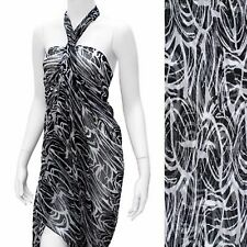 Sarong Swimwear Beach Cover-Up Scarf Black White Abstract Pareo 44 x 71 inches