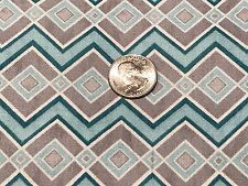 Fabric Aztec Diamonds Beach Colors Teal & Steel Gray on Cotton 1 Yard