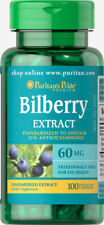 Puritan's Pride Bilberry Fruit Standardized Extract 60 mg - 100 Capsules