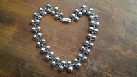 Taxco Mexico Sterling Silver Double Beaded Necklace ~ 80 Grams