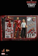 "Sideshow Hot Toys 1/6 12"" MMS311 Iron Man 3 Pepper Potts & Mark IX Figure Set"