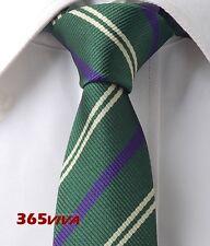 "Dark Green Purple Stripe Men Skinny Slim Narrow Woven Silk 2.5"" Wedding Tie L212"