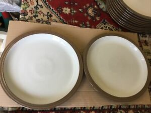 "Denby Greystone stoneware 10"" dinner plates X 2 Used"
