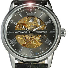 SEWOR Classic Black Leather Band Automatic Skeleton Mechanical Wrist Watch Men