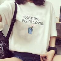 Harajuku Korean Letter Shirt Tops Women T-Shirts Short Sleeve O-Neck Blouses  Tw