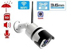HD 5MP WiFi IP Bullet Camera Wireless IR Outdoor Mic Speaker , CamHi APP