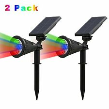 [2 Pack 250 Lumens] T-SUN LED Solar Spotlights, 4 LEDs Outdoor Security Garden L