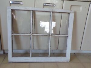 "Pair of  24H"" x 28W"" Vtg Windows Old Casement 6 Pane From 1927 Arts & Crafts"