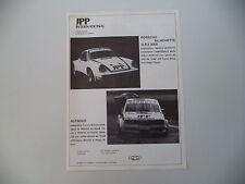 advertising Pubblicità 1978 JPP e PORSCHE SILHOUETTE GR5 3000/ALFASUD