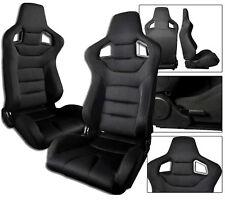 2 Black Cloth Racing Seats RECLINABLE All Mitsubishi NEW