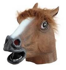 HORSE HEAD MASK ASCOT ANIMAL LATEX & FUR OVERHEAD STALLION RACING COSTUME NEW
