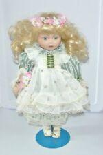 Vintage Porcelain Marian Yu 16'' Victorian Doll 7/3000 Blond Curls Box stand