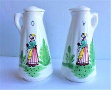 Vintage Ceramic Vinegar & Oil Bottles with Lids – Japan