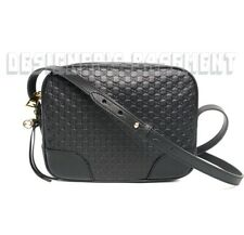 GUCCI black MICRO GUCCISSIMA Leather BREE Camera cross-body Charm bag NWT Authen