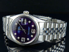 Mens Rolex Datejust 18K /Steel Fluted Bezel 36MM Jubilee Blue Dial Diamond Watch