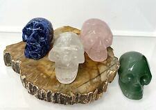 "Wholesale Lot 4 Pcs 2"" Mix Skull Sodalite Rose Quartz Aventurine Clear Quartz"