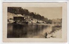Picture postcard of Prebends Bridge, Durham - snow scene with mill (C34538)