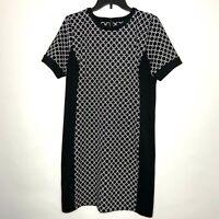 Michael Kors Womens Size Large Black Geometric Knit Sheath Dress Cap Sleeve