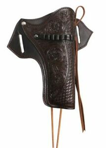 38 357 44 45 Caliber Tooled Leather Belt Gun Holster Scabbard Western Saddle