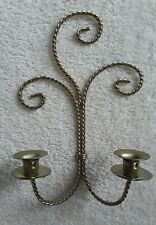Home Interiors Gold Metal Wall Sconce Candle Holder Holds 2 Candles
