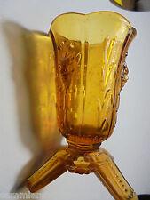 26463  kleine Glasvase Vase Art Deco Preßglas Bernstein amber Faunskopf Faun