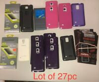 Wholesale Lot Of 27pc Samsung Galaxy Note 4 Cases, And Screen Protectors