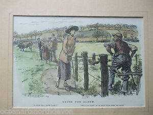 ANTIQUE PRINT 1911 COLOUR ENGRAVING HUMOUR FARM COUNTRY F H TOWNSEND ENGRAVING