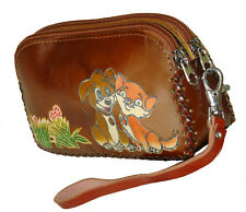 Leather Wristlet Wallet/Change Purse. Dual Zipper & Rooms, Doggy & Kitty, Brown