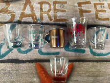 lot of 6 shot glasses Lucky Rooster, Tullamore Dew, Smirnoff, Whiskey Clear