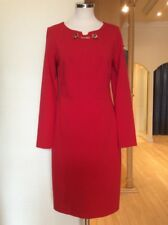 Joseph Ribkoff Dress Size 12 Red With Gold Chain Detail RRP £246 Now £110