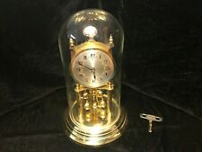 Kundo Silver Floral Face Anniversary Clock With Glass Dome And Key - Working