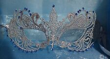Silver Masquerade Mask & Sapphire Blue Diamantes New Year Halloween Masked Ball